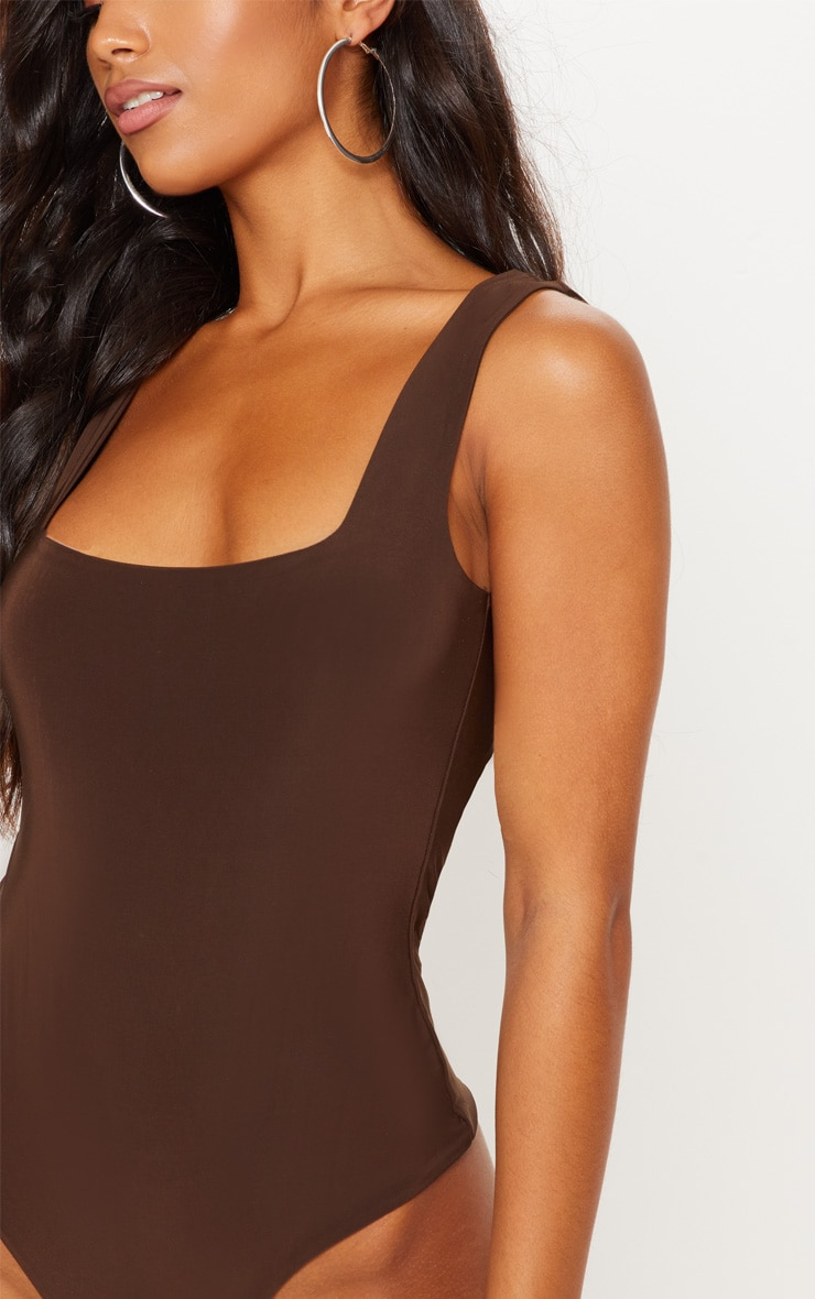 Chocolate Second Skin Scoop Neck Thong Bodysuit 7