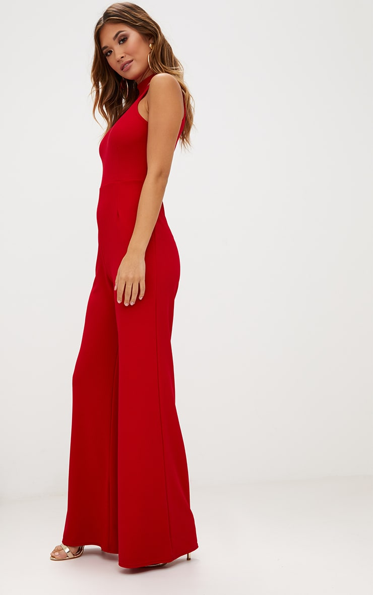 Red Crepe High Neck Jumpsuit 4