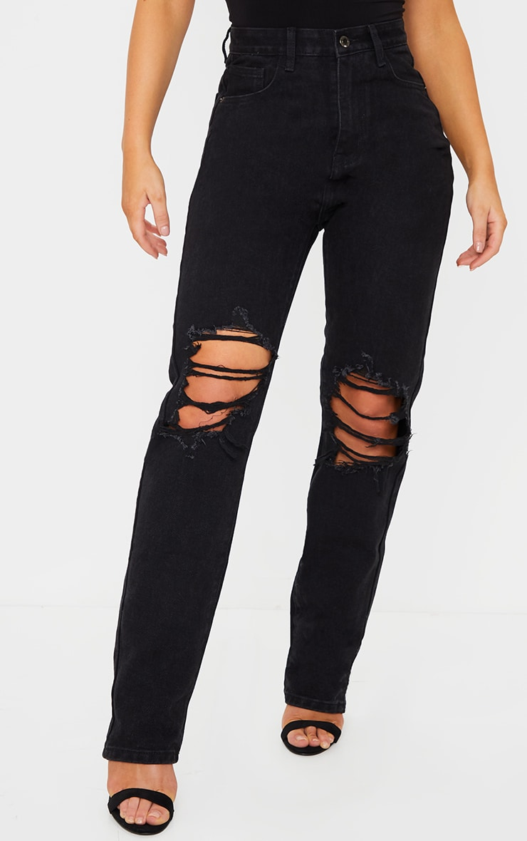 Washed Black Ripped Knee Long Leg Straight Jeans 2