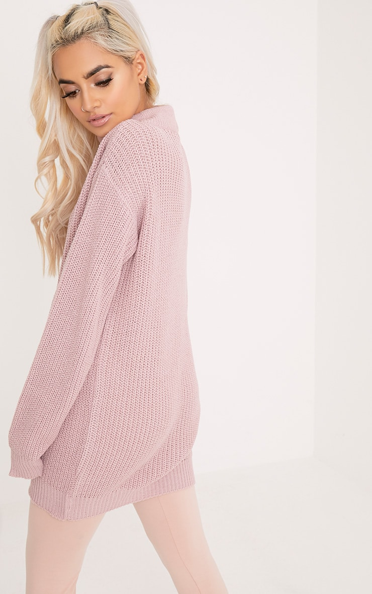 Katharine Blush Choker Detail Oversized Jumper  2