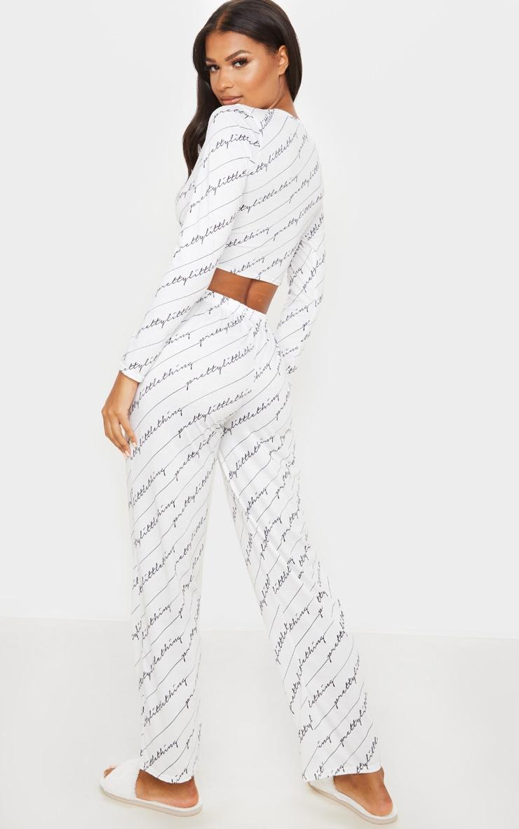 PRETTYLITTLETHING - Ensemble de pyjama blanc à écriture 2