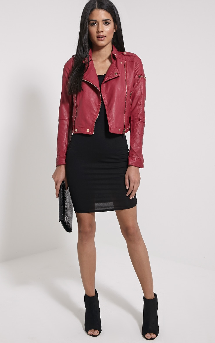 Blake Burgundy Faux Leather Biker Jacket 3
