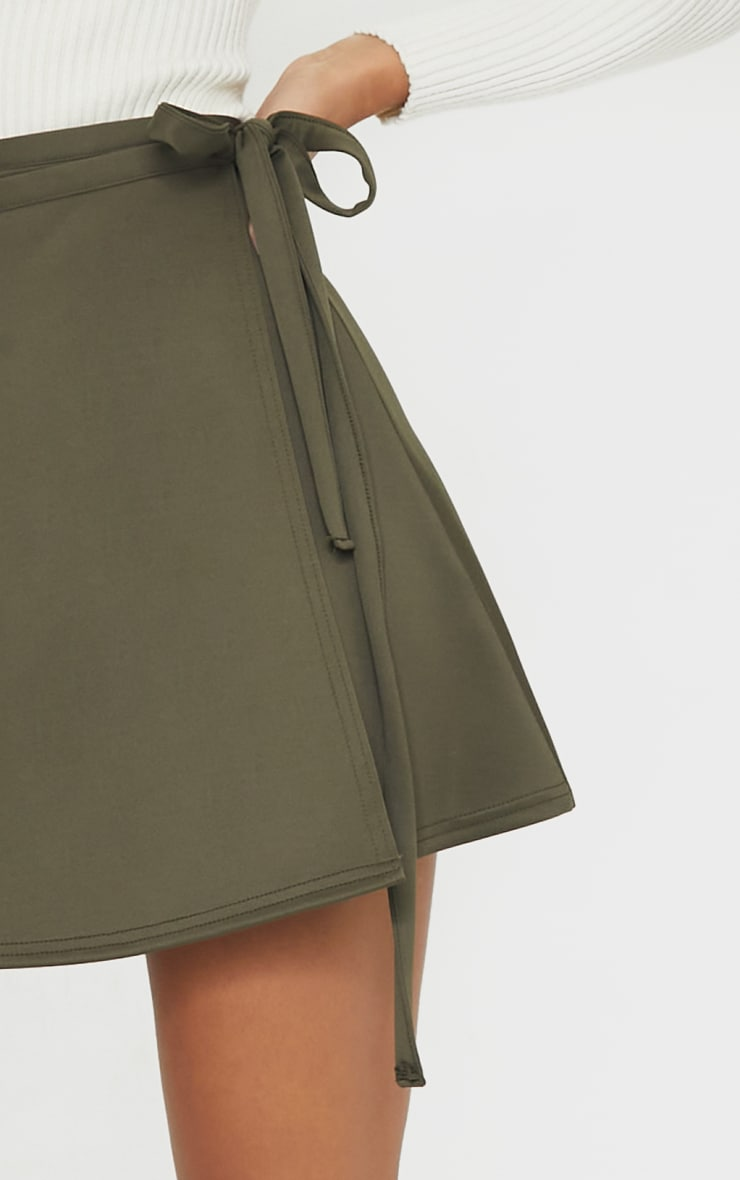 Khaki Wrap Scuba Mini Skirt 5