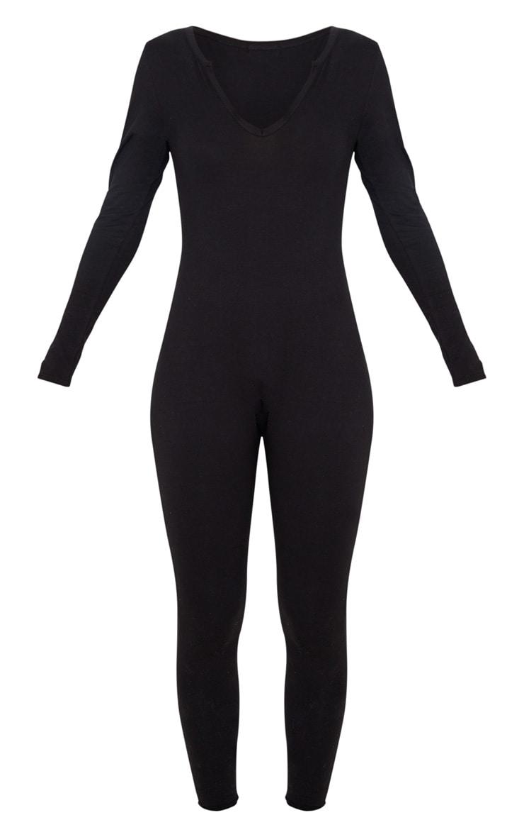 Black Seamless Cotton Elastane V Neck Jumpsuit 3
