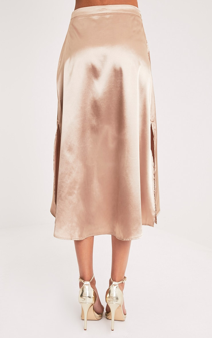 Ennia Champagne Satin Side Split Floaty Midi Skirt 5