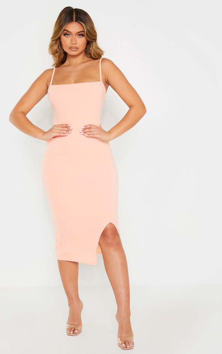 Nude Strappy Split Hem Midi Dress 1