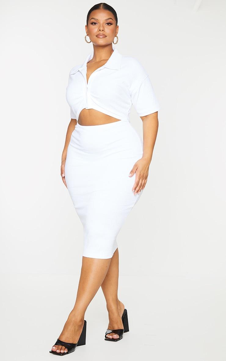 Plus White Thick Rib Cut Out Midi Dress 3