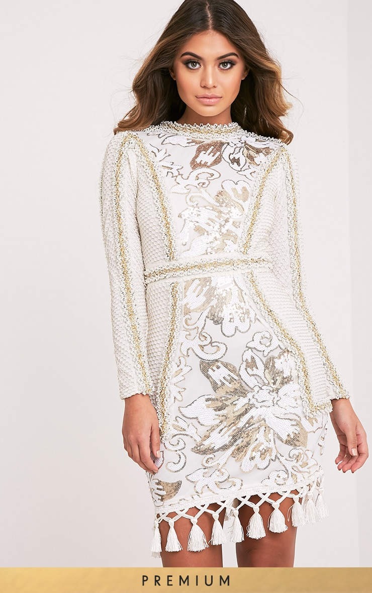 Nhyla White Premium Embellished Sequin Bodycon Dress 2