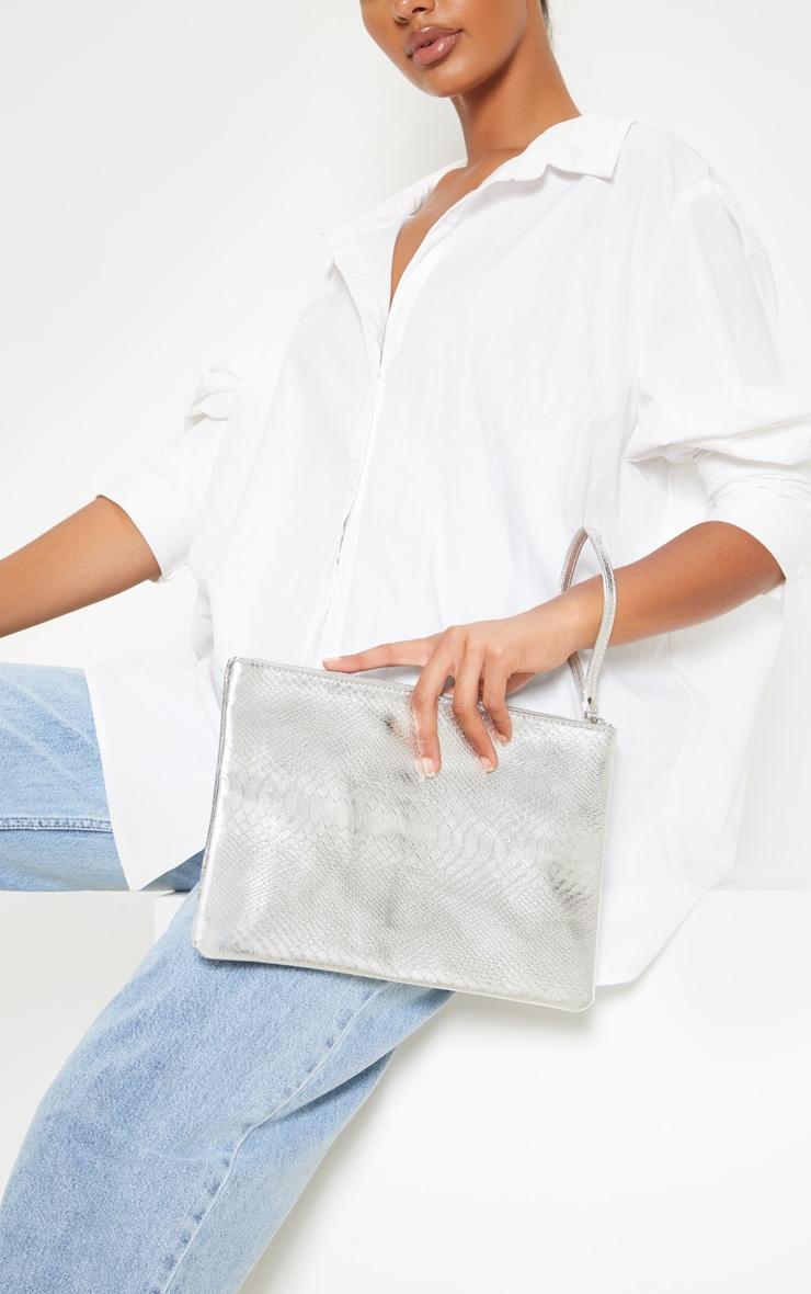 Silver Metallic Clutch Bag 1