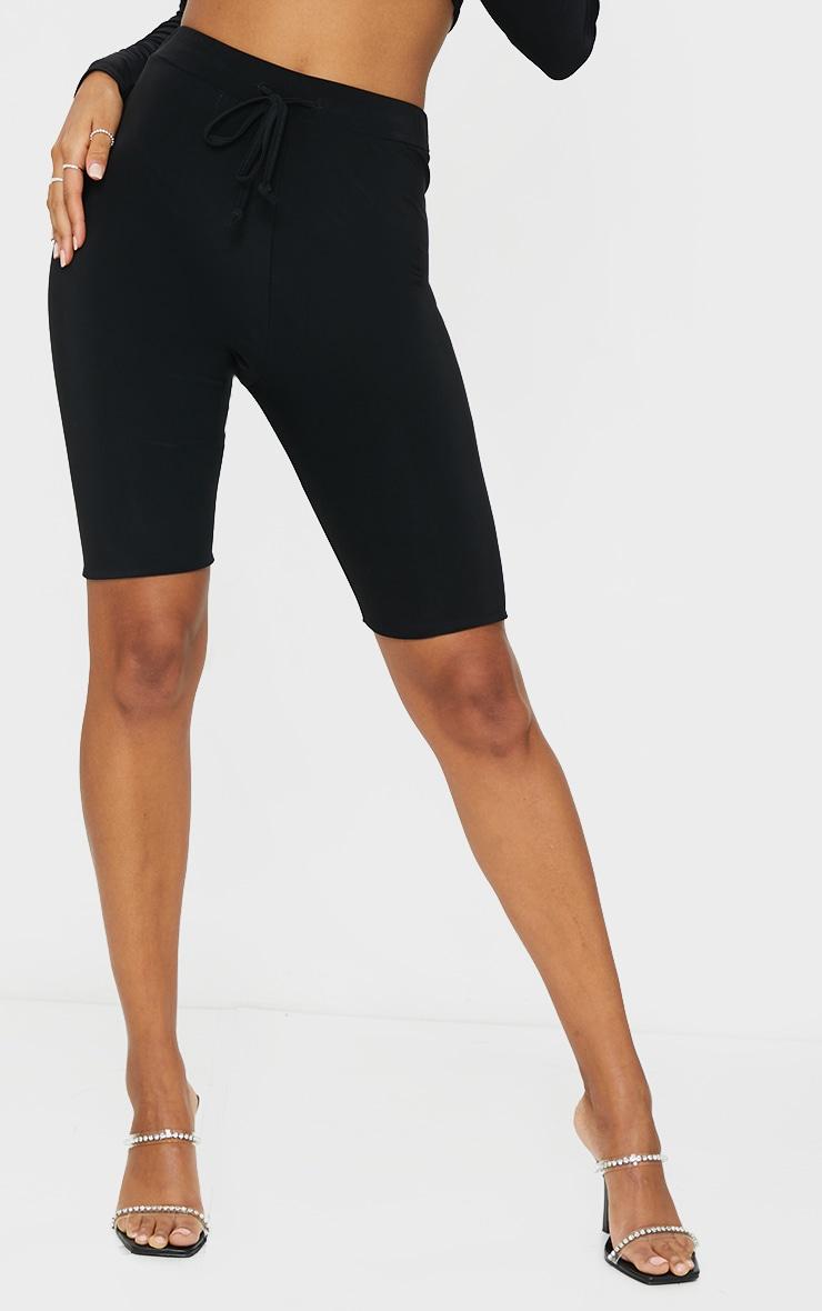 Black Slinky Tie Waist Cycle Shorts 2