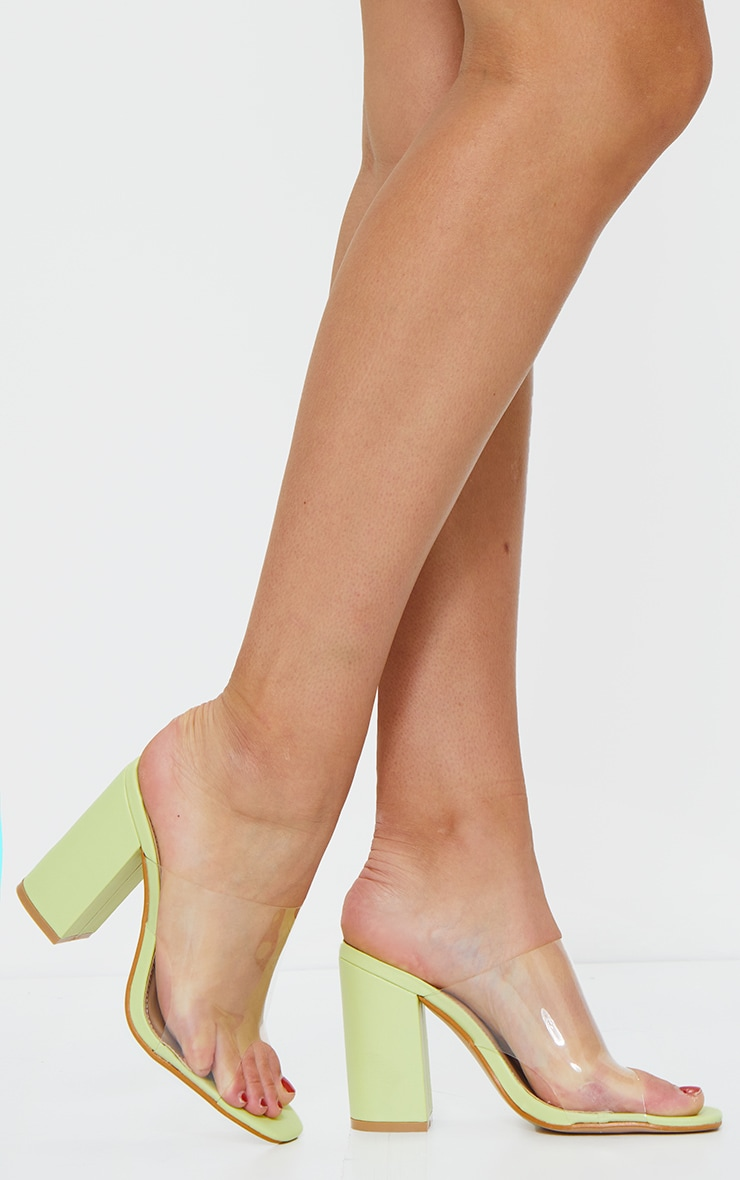Soft Lime Square Toe Block Heel Clear Mule 2