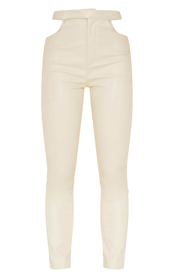 Cream Faux Leather Cut Out Detail Skinny Trousers 5