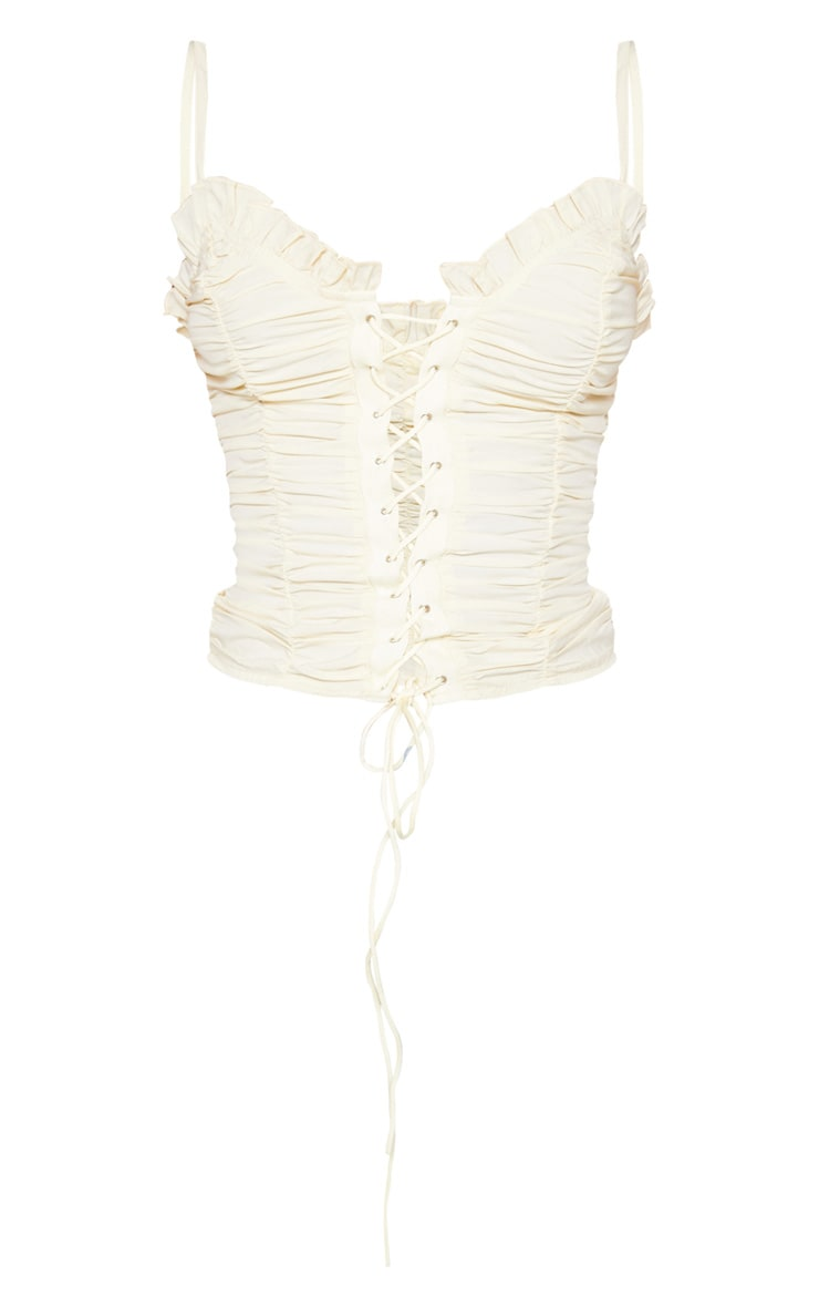 Cream Woven Ruched Lace Up Corset Top 3