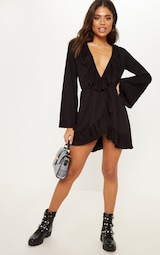 2df73a24cb8 Black Jersey Frill Detail Flare Sleeve Wrap Dress image 4