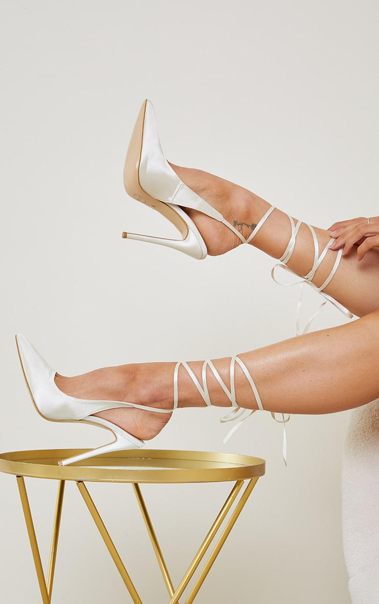 Cream Ankle Tie Court Shoes 2