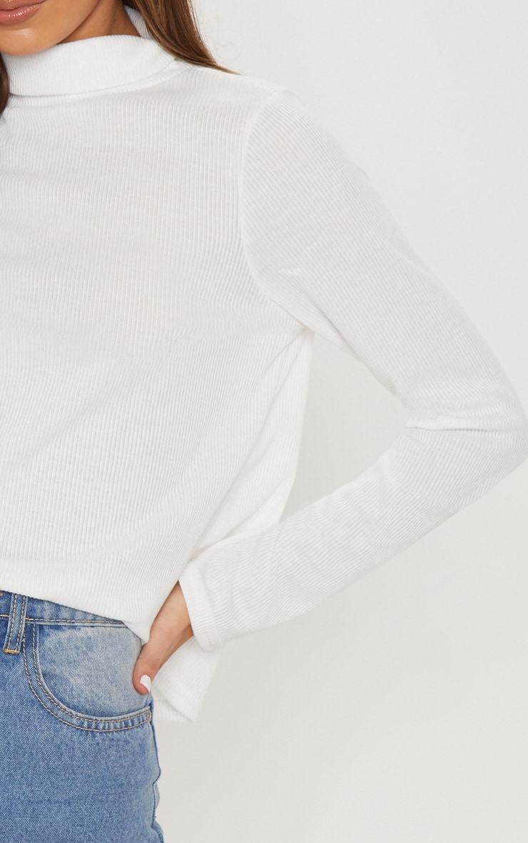 Cream High Roll Neck Rib Long Sleeve Top 5