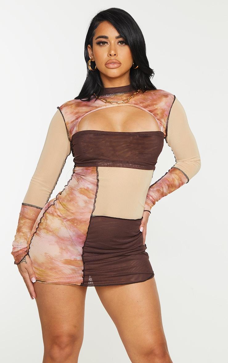 Shape Pink Tie Dye Sheer Mesh Panel Detail Bodycon Dress