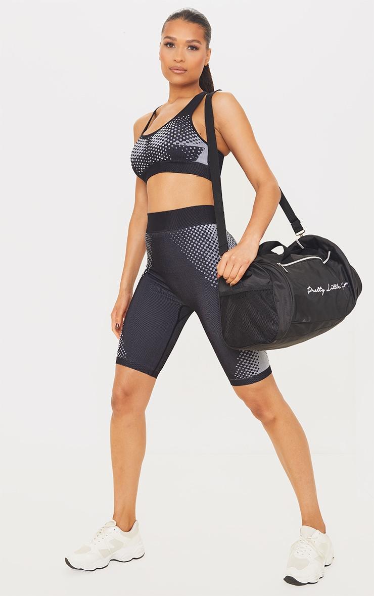 Black Contour Dot Seamless Bike Shorts 1