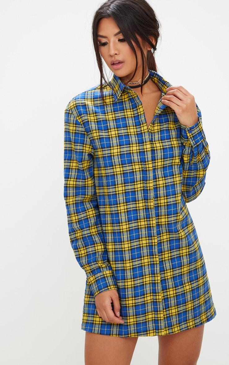 Robe chemise jaune à carreaux 1