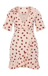 fd64dc0003d Nude Strawberry Print Frill Wrap Over Tea Dress image 3
