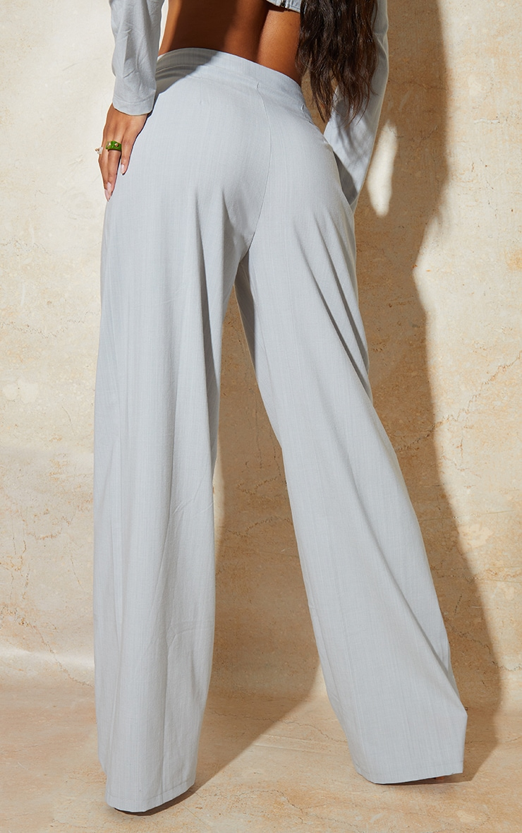 Light Grey Wide Leg Woven Pleated Detail Trousers 3