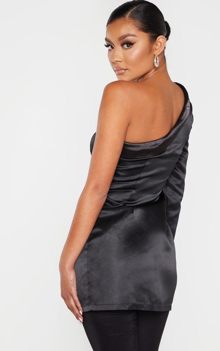 Black One Shoulder Longline Tux Shirt 2
