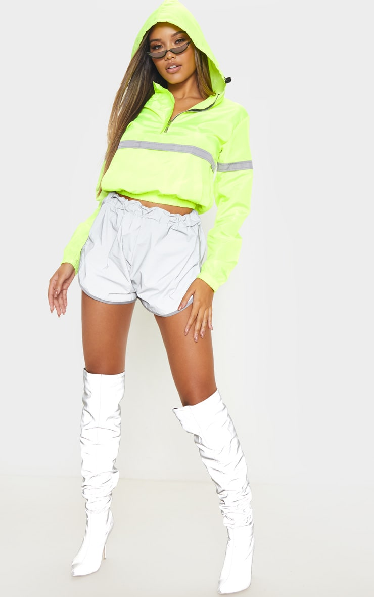 Neon Yellow Shell Reflective Tape Tracksuit Jacket 4