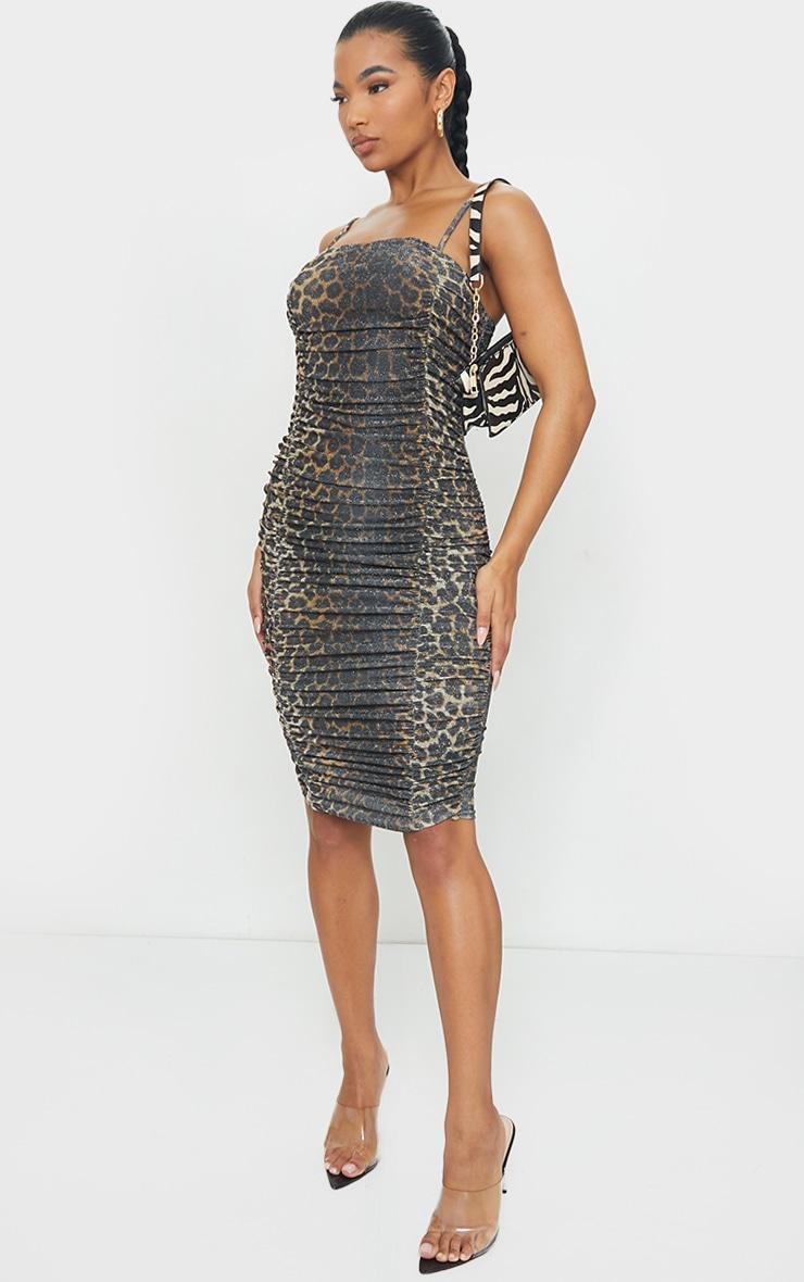 Tan Leopard Print Glitter Strappy Ruched Midi Dress 3