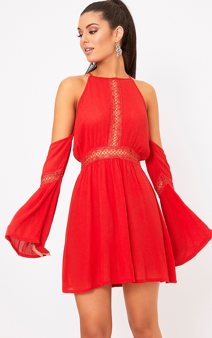 Red Cheesecloth Cold Shoulder Swing Dress  1