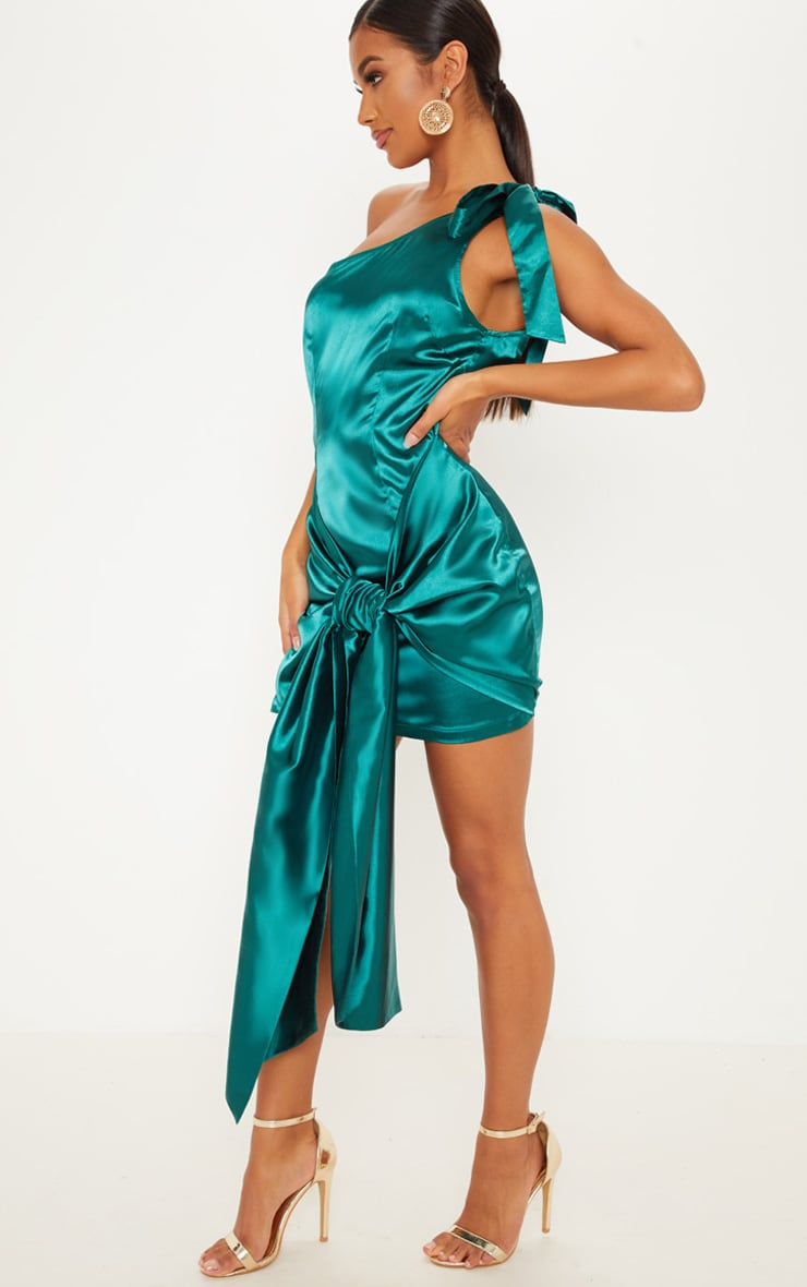 Emerald Green Satin One Shoulder Knot Detail Bodycon Dress 4