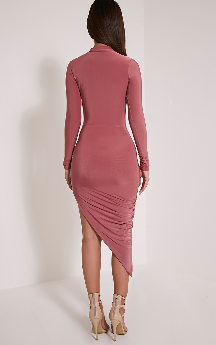 Petite Saffy Rose Long Sleeve Drape Dress 2