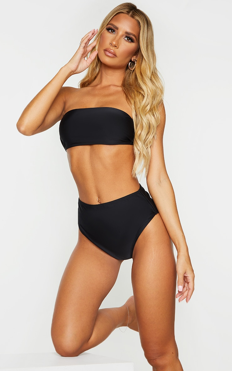 Black Mix & Match Recycled Fabric Bandeau Bikini Top 1