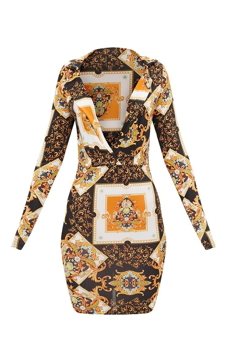 Black Scarf Print  Collar Detail Bodycon Dress  2