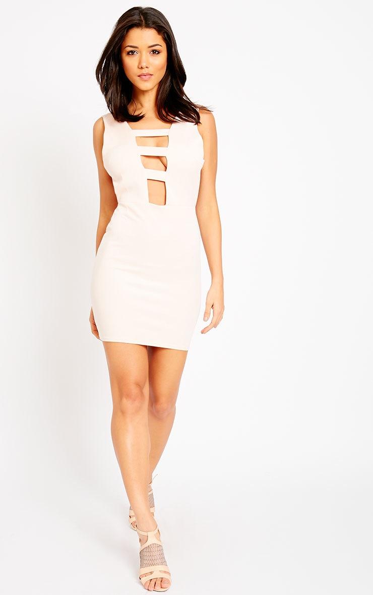 Neema Nude Cage Front Mini Dress 3