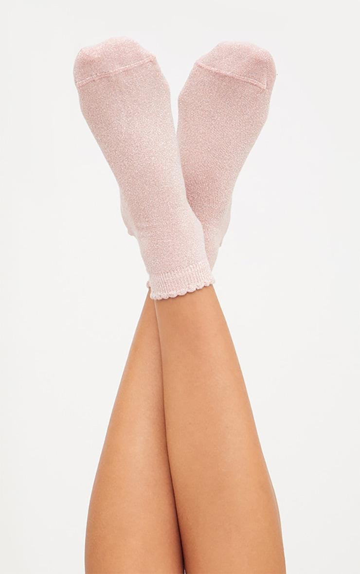 Baby Pink Glitter Lurex Frill Ankle Socks 1