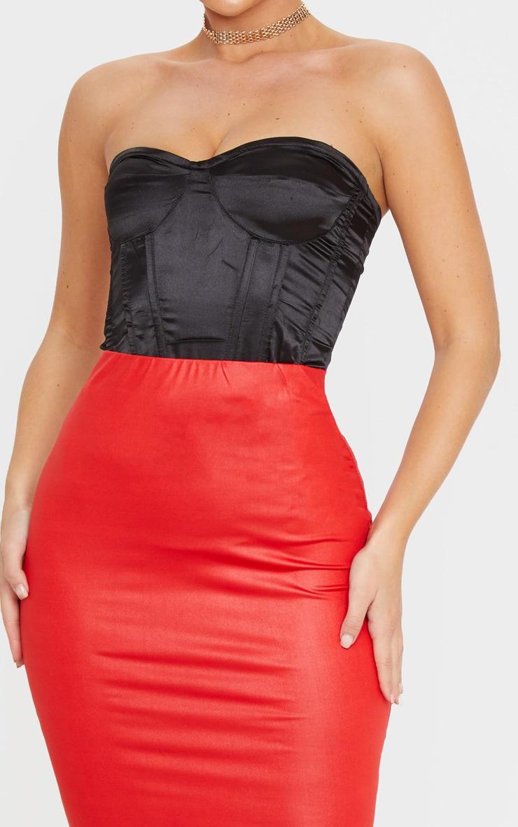 Red Wet Look Midi Skirt 5