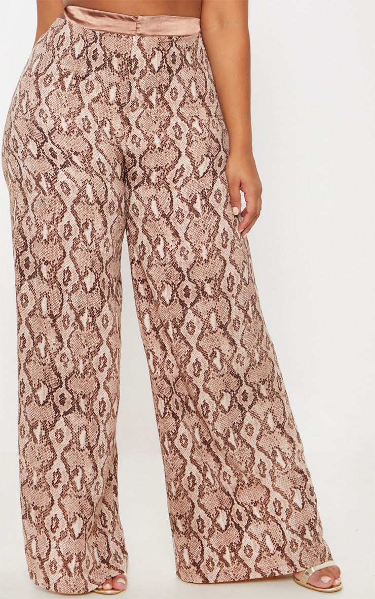 Plus Taupe Snake Print Wide Leg Pants 2