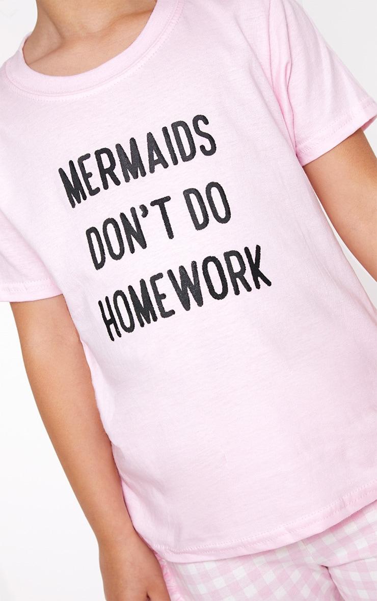 Mermaids Don't Do Homework Pink T Shirt 5