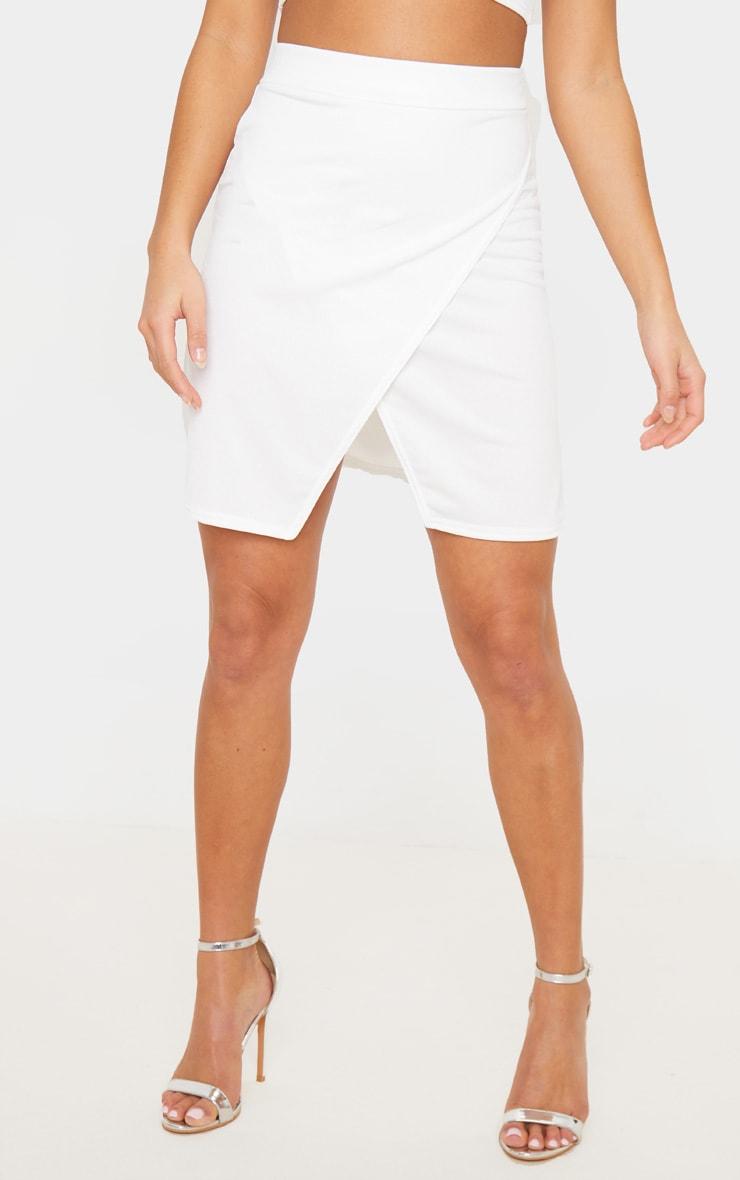Petite Cream Crepe Oriental Wrap Skirt 4