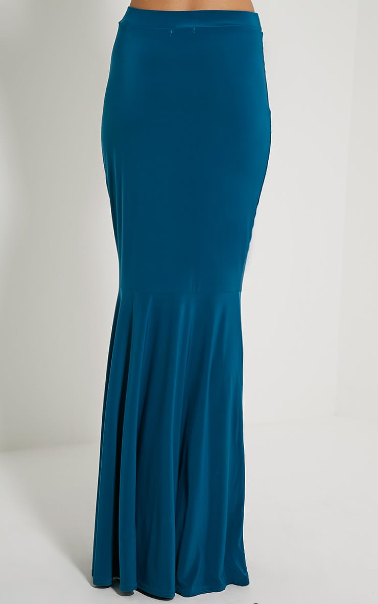 Silvie Teal Fish Tail Slinky Maxi Skirt 4