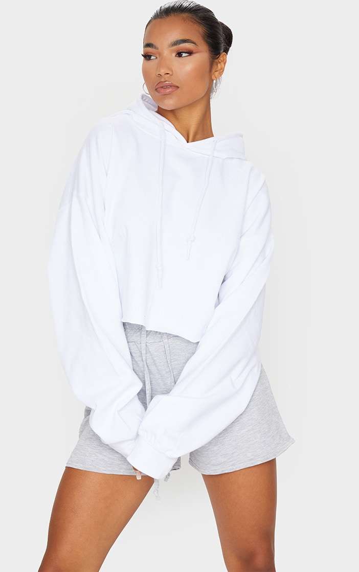 Recycled White Oversized Crop Sweat Hoodie 3