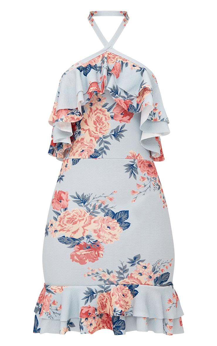 Grey Floral Frill Detail Halterneck Bodycon Dress 3