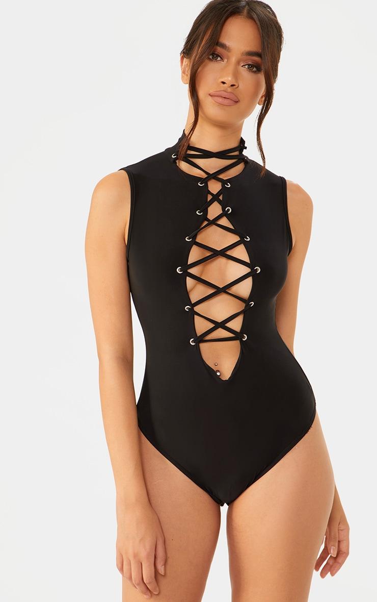 Black Slinky Lace Up Thong Bodysuit  1