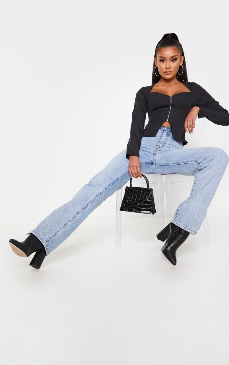 Black Woven Long Sleeve Zip Front Corset Top 4