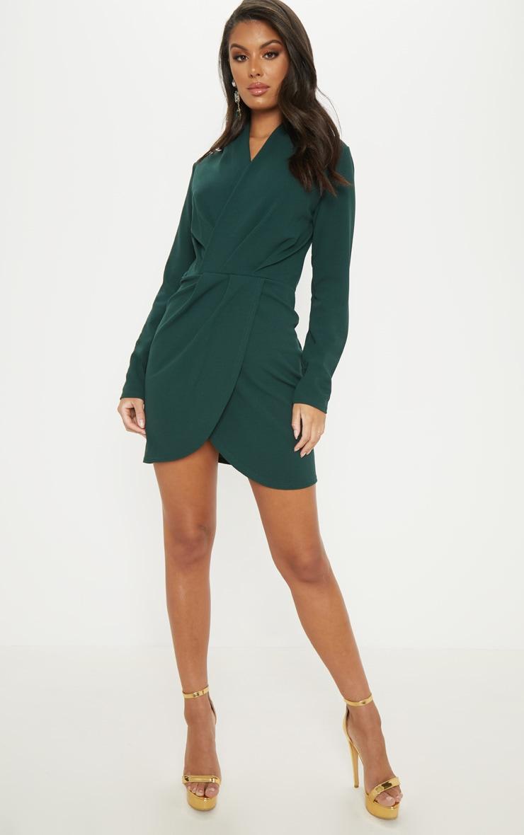 Emerald Green Wrap Front Bodycon Dress 4