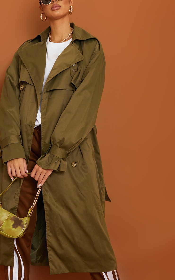 Tall Khaki Oversized Belted Midi Trench 4