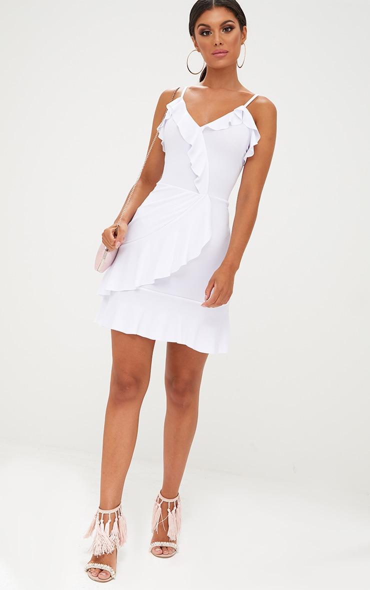 White Strappy Wrap Frill Detail Bodycon Dress 4