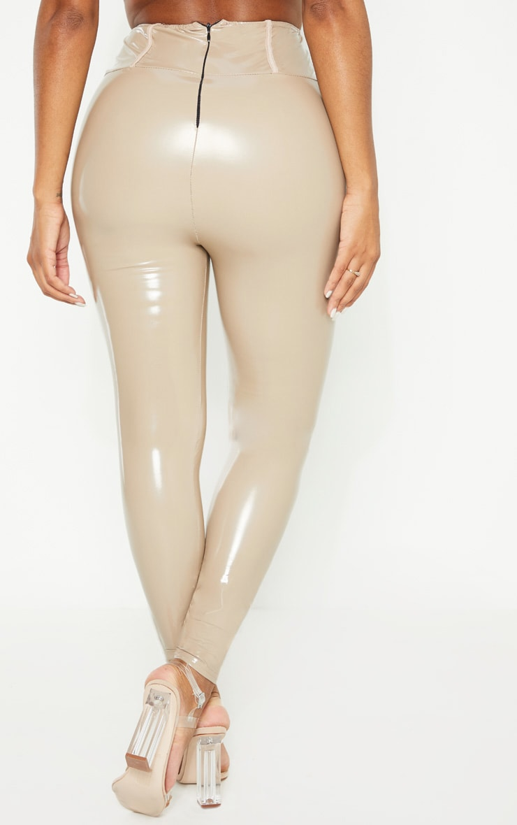 Shape Taupe High Waist Vinyl Leggings 4