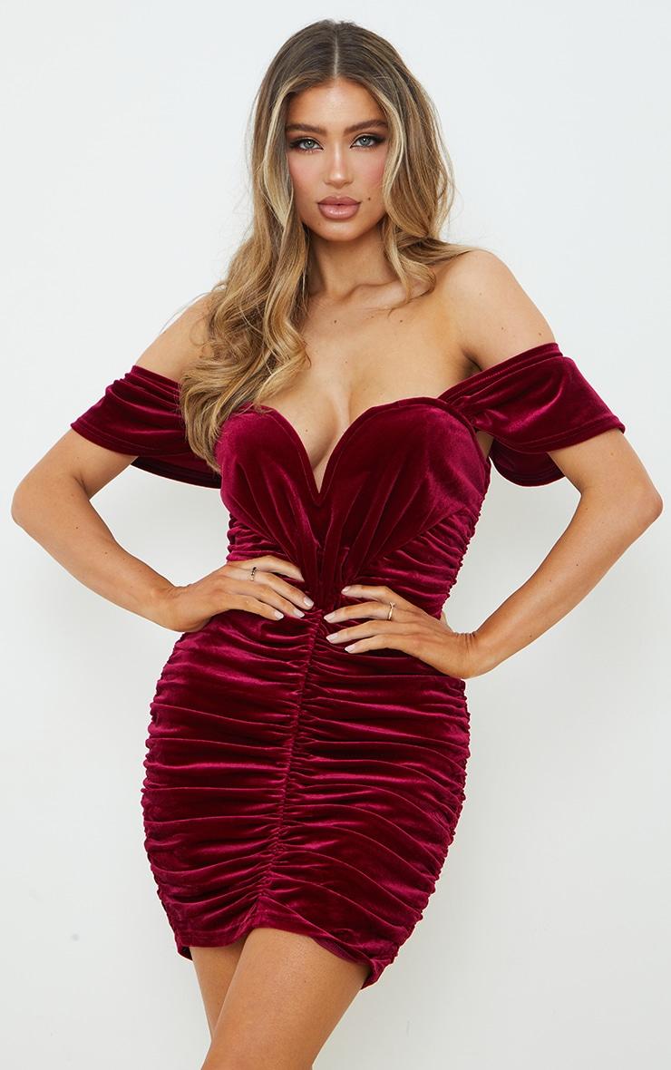 Burgundy Velvet Plunge Ruched Bardot Bodycon Dress 1