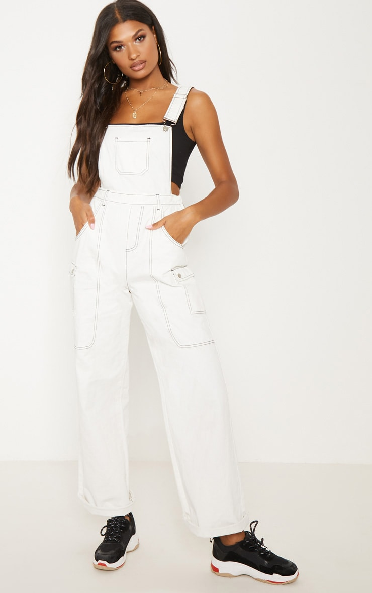 White Denim Wide Leg Dungarees 2